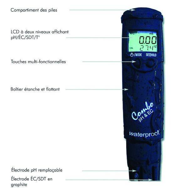 TESTEUR ELECTRONIQUE COMBO PH/SEL/TEMPERATURE